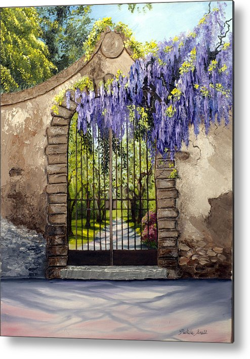 Gate Metal Print featuring the painting Wisteria Gate by Michele Snell