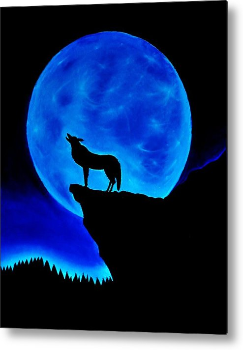 Wolf Metal Print featuring the painting Wolf Howling by Nicole Cris