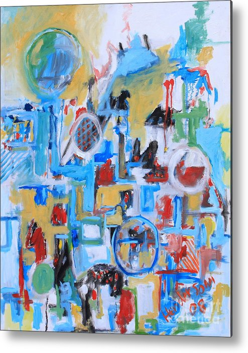 Abstract Metal Print featuring the painting Woman In Blue by Michael Henderson