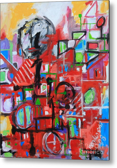 Abstract Metal Print featuring the painting Woman In Red by Michael Henderson