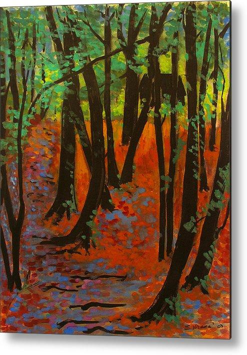Woodland At Watkins Glen New York Metal Print featuring the painting Woodland At Watkins Glen New York by Ethel Vrana