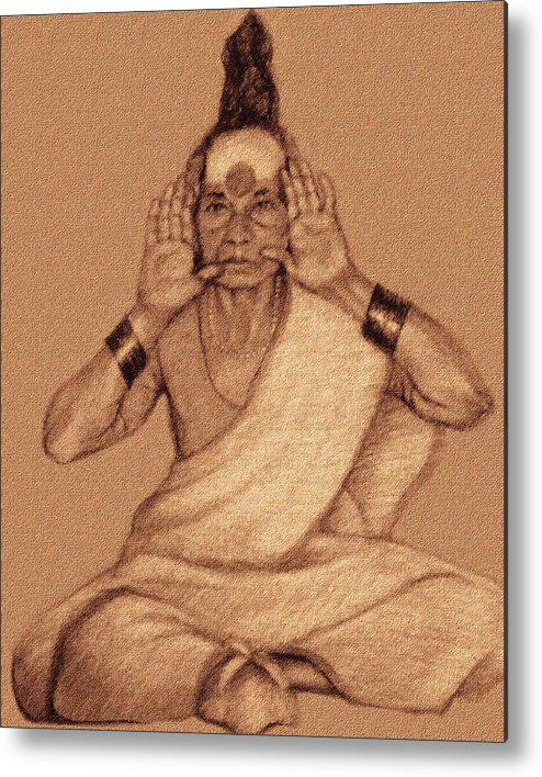 Sadhu Woman Metal Print featuring the drawing Yellamma by Claudio Fiori