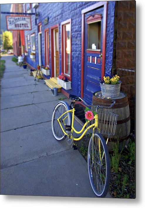 Bicycle Metal Print featuring the photograph Yellow Bicycle Silverton Colorado by George Oze
