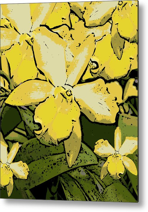 Orchid Metal Print featuring the photograph Yellow Orchids Woodcut by Ann Tracy