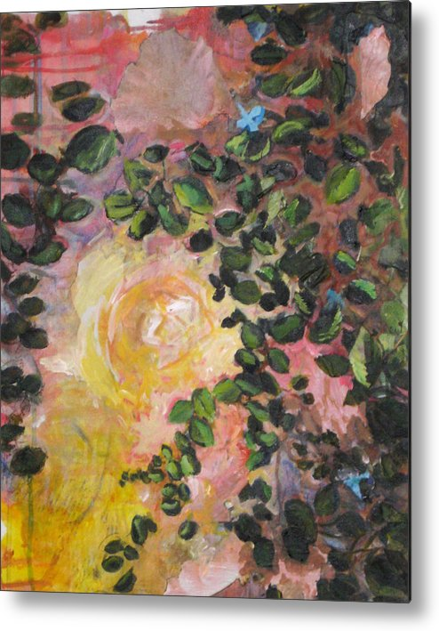 Nature Metal Print featuring the painting Yellow Rose by Alicia Kroll
