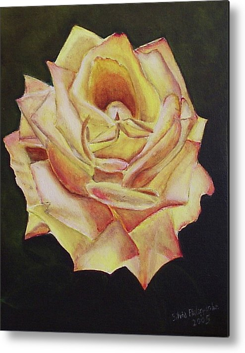 Rose Metal Print featuring the painting Yellow Rose by Silvia Philippsohn