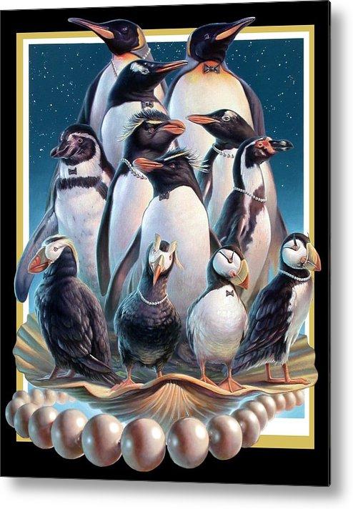 Zoofari Metal Print featuring the painting Zoofari Poster 2004 The Penguins by Hans Droog