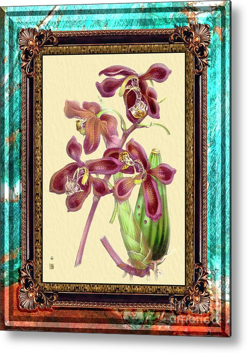 Marble Metal Print featuring the mixed media Vintage Orchid Antique Design Marble Caribbean-blue by Baptiste Posters