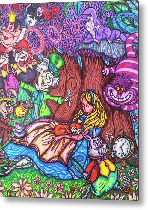 Sharpies Metal Print featuring the drawing Alice In Wonderland by Janine Messenger