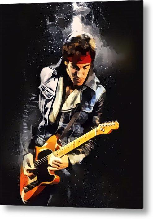 Bruce Springsteen Metal Print featuring the digital art Bruce Springsteen Portrait by Scott Wallace Digital Designs