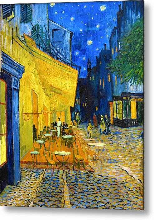 Vincent Van Gogh Metal Print featuring the painting Cafe Terrace At Night - Digital Remastered Edition by Vincent van Gogh