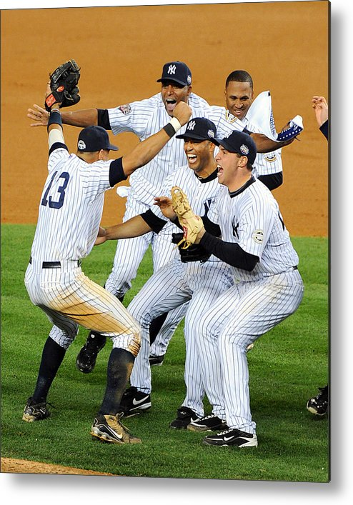 American League Baseball Metal Print featuring the photograph New York Yankees Celebrate 27th World by New York Daily News Archive