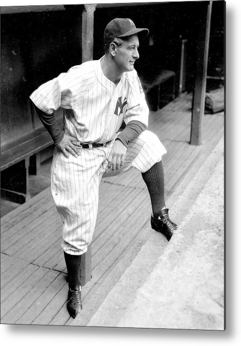 People Metal Print featuring the photograph New York Yankees Lou Gehrig by New York Daily News Archive