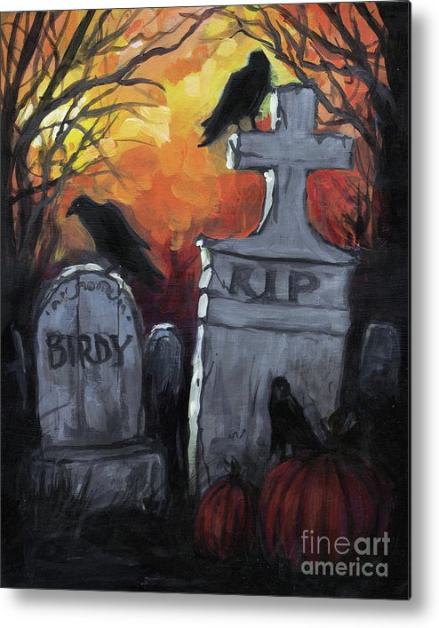 Rip Birdy Halloween Art Crow Raven Funny Metal Print By Kim Marshall