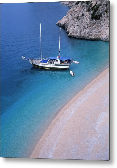 Sailboat Metal Print featuring the photograph Sailboat In Kapitas Bay, Turkey by Franz Aberham