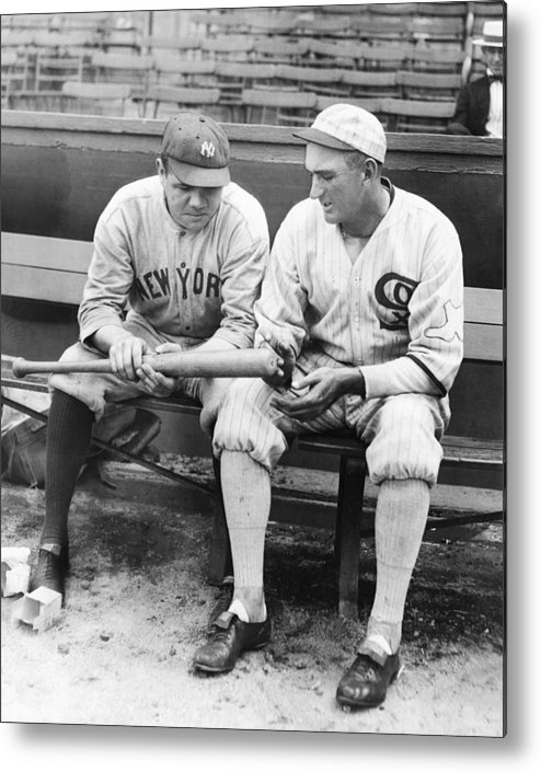 American League Baseball Metal Print featuring the photograph Shoeless Joe Jackson And Babe Ruth by New York Daily News Archive