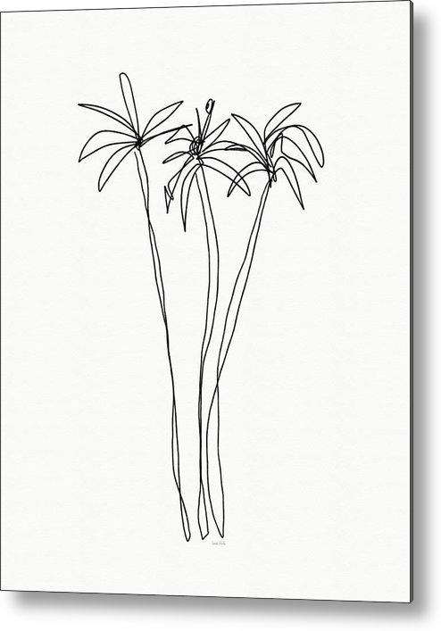 Trees Metal Print featuring the drawing Three Tall Palm Trees- Art By Linda Woods by Linda Woods