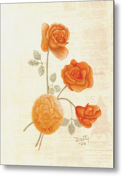Rose Metal Print featuring the drawing Faded Memories by Dusty Reed