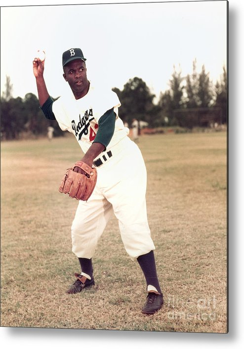 People Metal Print featuring the photograph Jackie Robinson by Kidwiler Collection