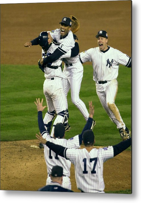 Baseball Catcher Metal Print featuring the photograph Mariano Rivera, Scott Brosius, And Jorge Posada by New York Daily News Archive