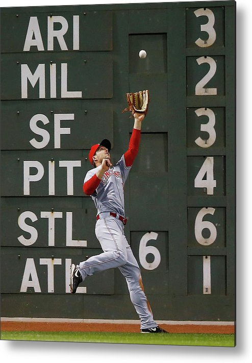 American League Baseball Metal Print featuring the photograph Shane Victorino And Chris Heisey by Jared Wickerham