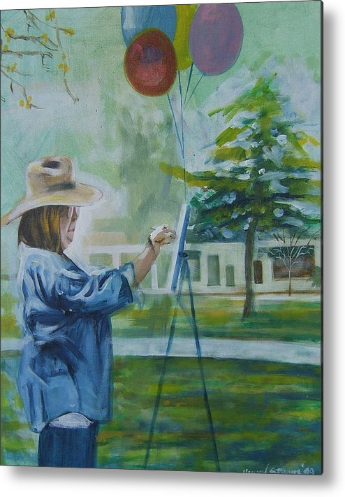 Artist At Work Metal Print featuring the painting Nancy by Howard Stroman