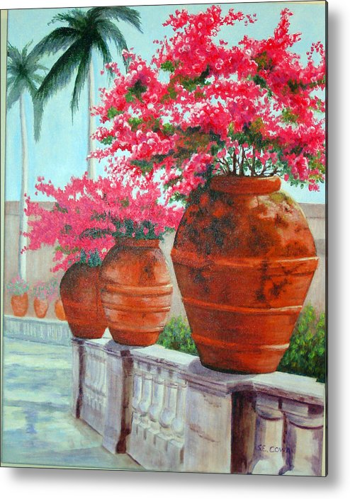 Landscape Metal Print featuring the painting Bougainvillea Pots by SueEllen Cowan