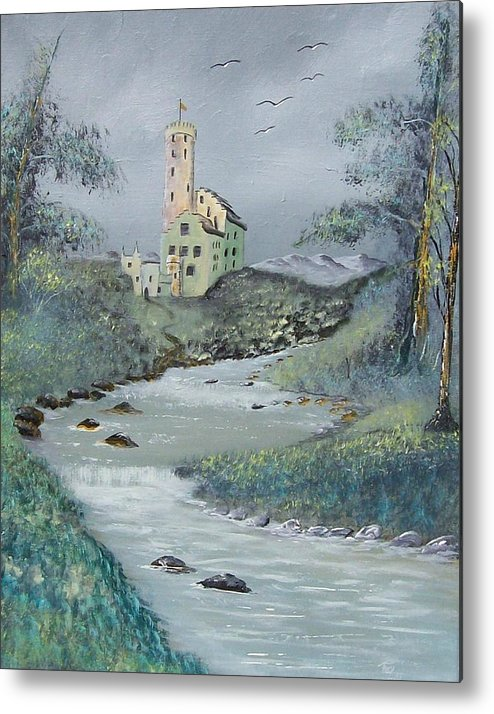 Castle Metal Print featuring the painting Castle By Stream by Tony Rodriguez