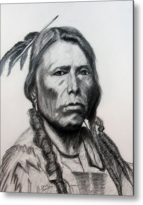 Indian Portrait Metal Print featuring the drawing Crazy Horse by Stan Hamilton