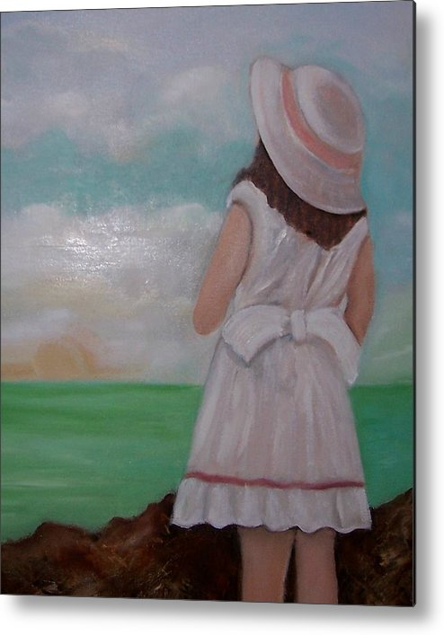 Children Metal Print featuring the painting Girl On The Beach by Martha Mullins