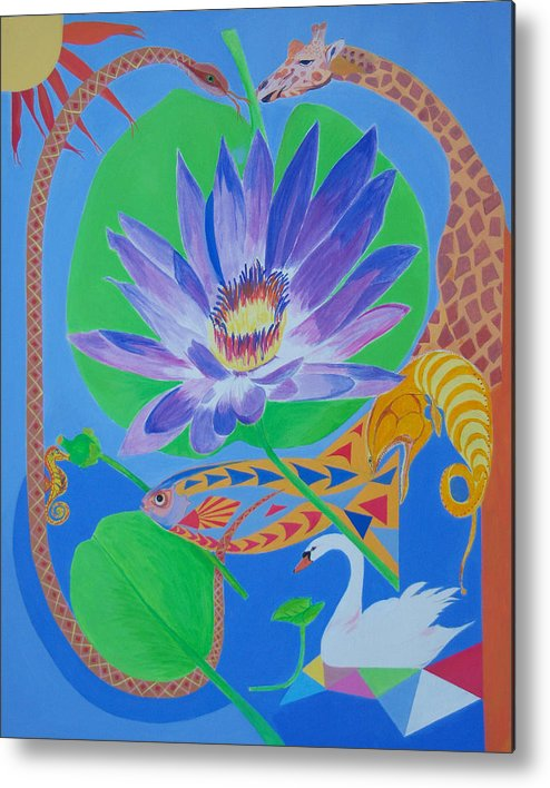 Acrylic Metal Print featuring the painting Love In The Garden Of Eden by Seema Gill