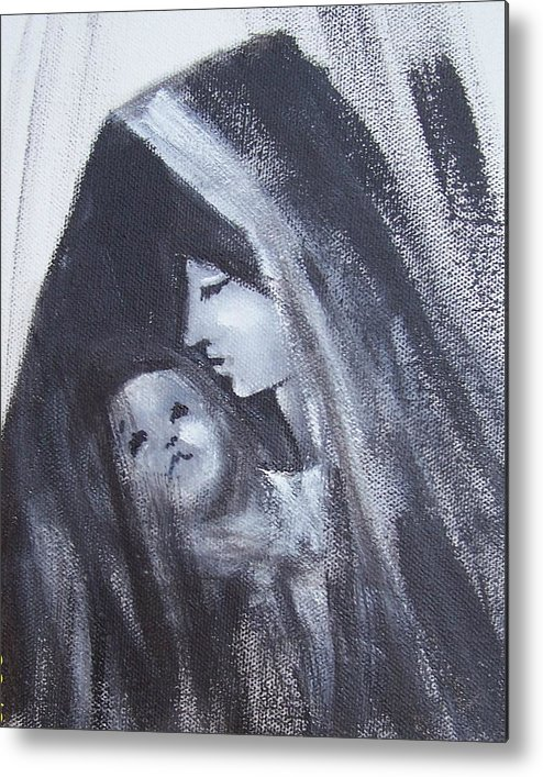 Painted Scetch Metal Print featuring the painting Motherly Love by Martha Mullins