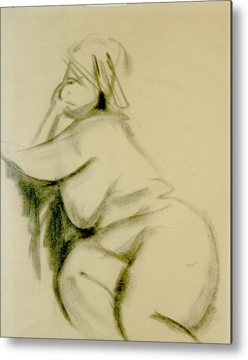 Charcoal Sketch Metal Print featuring the print Nude Study by Howard Stroman