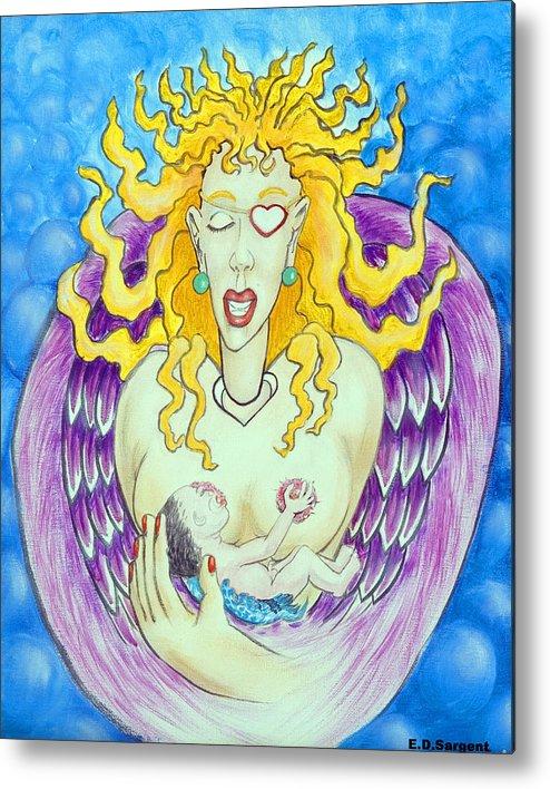 Heart Metal Print featuring the painting Nursing Angel by Eddie Sargent