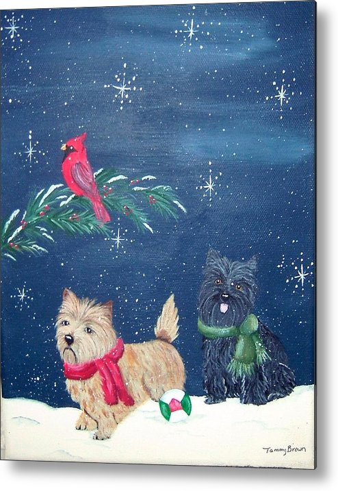 Cairn Terrier Metal Print featuring the painting Playin by Tammy Brown