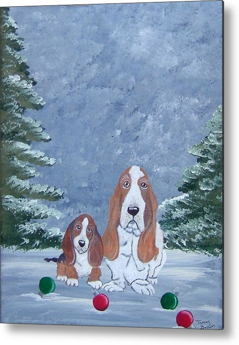 Basset Hound Metal Print featuring the painting Time To Decorate by Tammy Brown