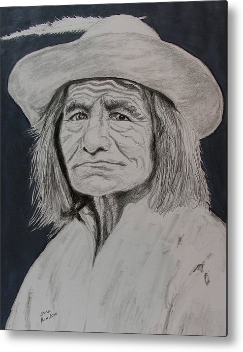 Graphite Metal Print featuring the drawing Unknown Indian Vi by Stan Hamilton