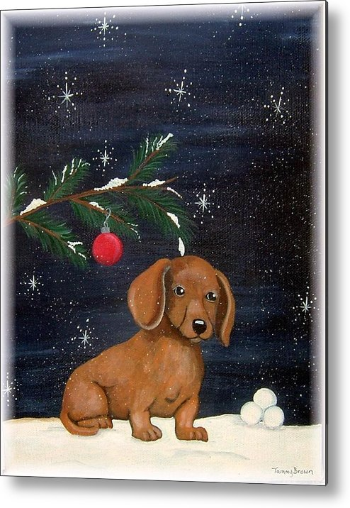 Dachshund Metal Print featuring the painting Winter by Tammy Brown