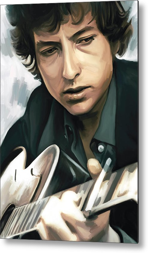 Bob Dylan Paintings Metal Print featuring the painting Bob Dylan Artwork by Sheraz A