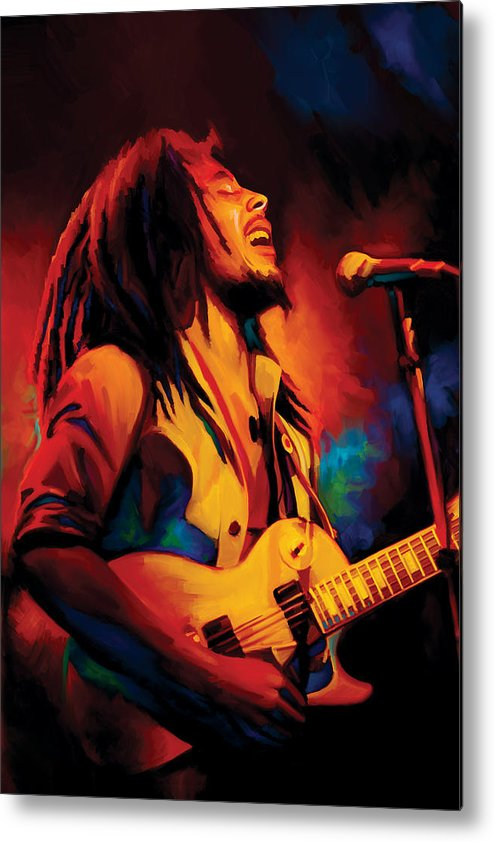Bob Marley Paintings Metal Print featuring the painting Bob Marley Artwork by Sheraz A