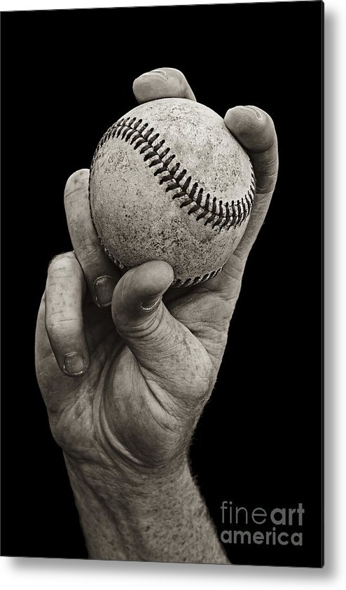 Baseball Metal Print featuring the photograph Fastball by Diane Diederich