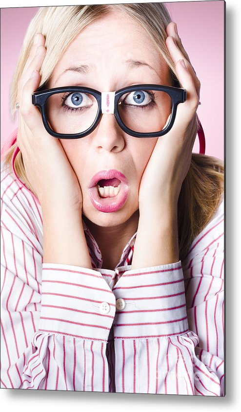 Hysterical business woman having panic attack Metal Print by Jorgo  Photography
