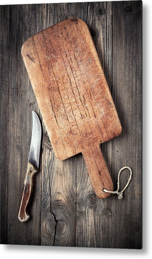 Empty Metal Print featuring the photograph Old Cutting Board And Knife by Barcin