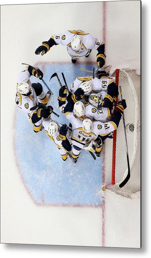 Shea Weber Metal Print featuring the photograph Nashville Predators V Anaheim Ducks - by Sean M. Haffey