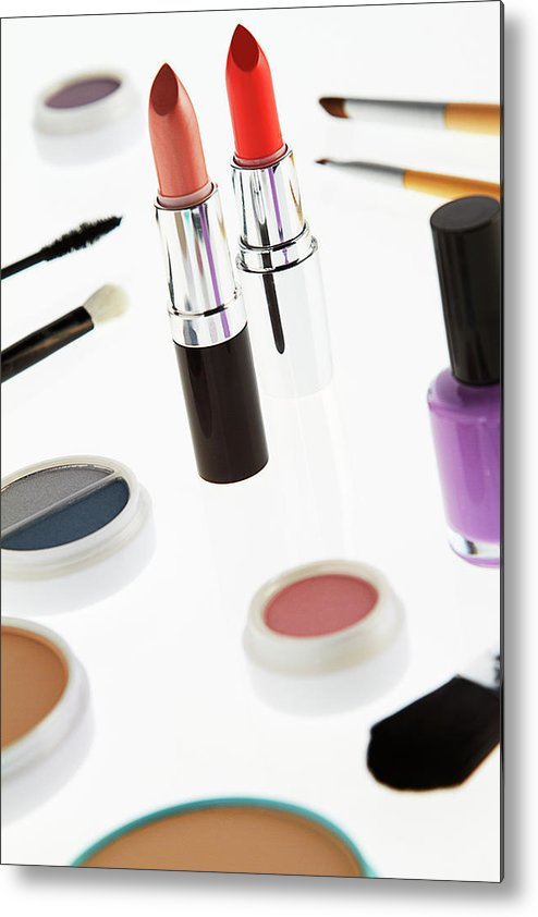 White Background Metal Print featuring the photograph Still Life Of Beauty Products by Stephen Smith