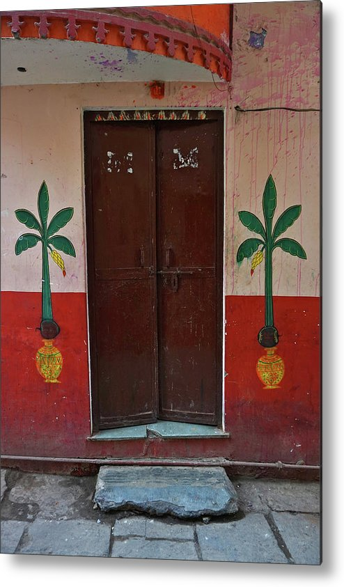 Description Metal Print featuring the photograph Old Doors India, Varanasi by Stereostok