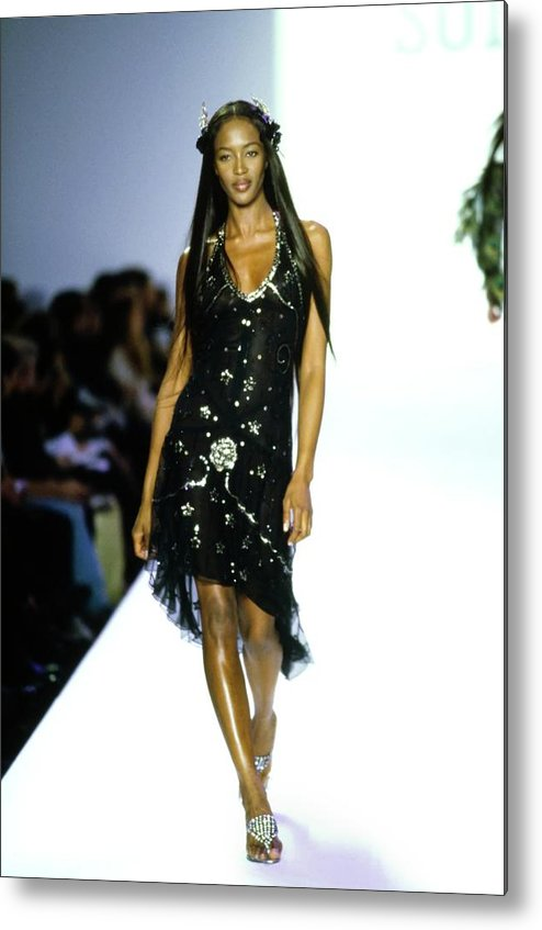 Indoors Metal Print featuring the photograph Naomi Campbell On A Runway For Anna Sui by Guy Marineau