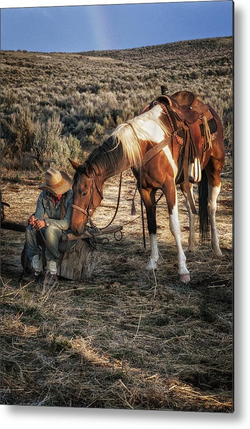 Sombrero Ranch Metal Print featuring the photograph A Cowgirls Best Friend by Pamela Steege