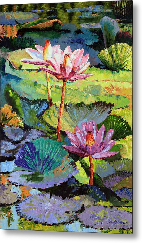 Water Lilies Metal Print featuring the painting A Moment In Sunlight by John Lautermilch