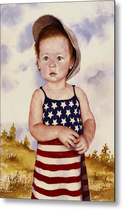 Kid Metal Print featuring the painting An All American Girl Named Ireland by Sam Sidders